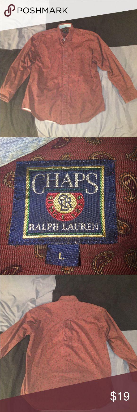 Men's Chaps By Ralph Lauren Dress Shirt Size L Excellent Condition ||| Men's Chaps By Ralph Lauren Size L Chaps Shirts Dress Shirts