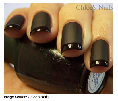 Nail art:   Black on black french tip manicure nail art design (one black is matte, the other is shiny)