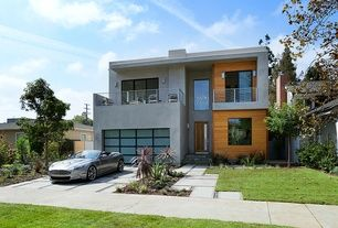 Contemporary Exterior of Home with Pathway, Stainless steel horizontal railing product #: 13-4060, Fence, Glass panel door