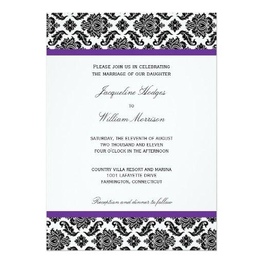 damask wedding invitations in eggplant purple