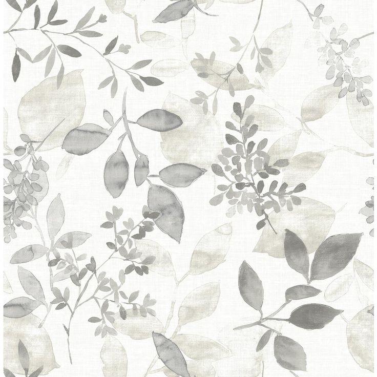 A-Street Gossamer Grey Botanical Wallpaper Sample 2716 ...