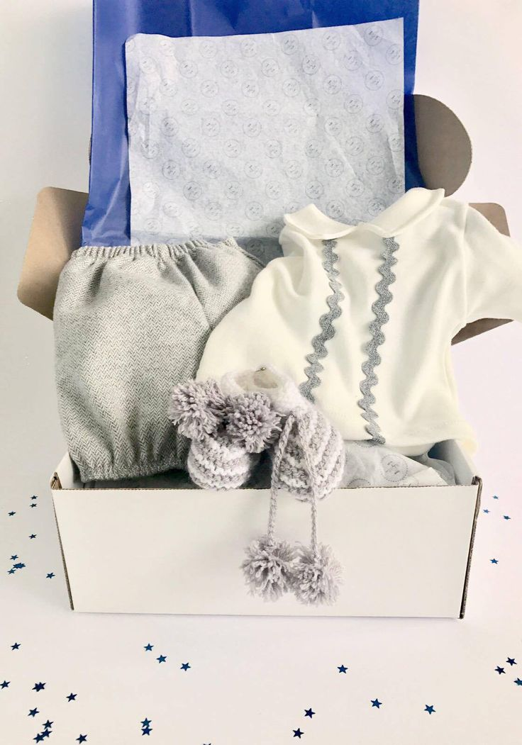 A look at our Trendy Baby Box for a baby boy in March. This lovely outfit is pretty yet masculine with its soft hues of grey and cream. The fabrics used make sure there is no doubt this is for a boy!