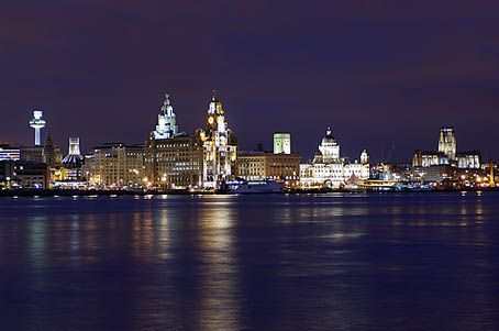 Waterfront at night I lived across the Mersey in Wallasey England this is what you see on a clear night .