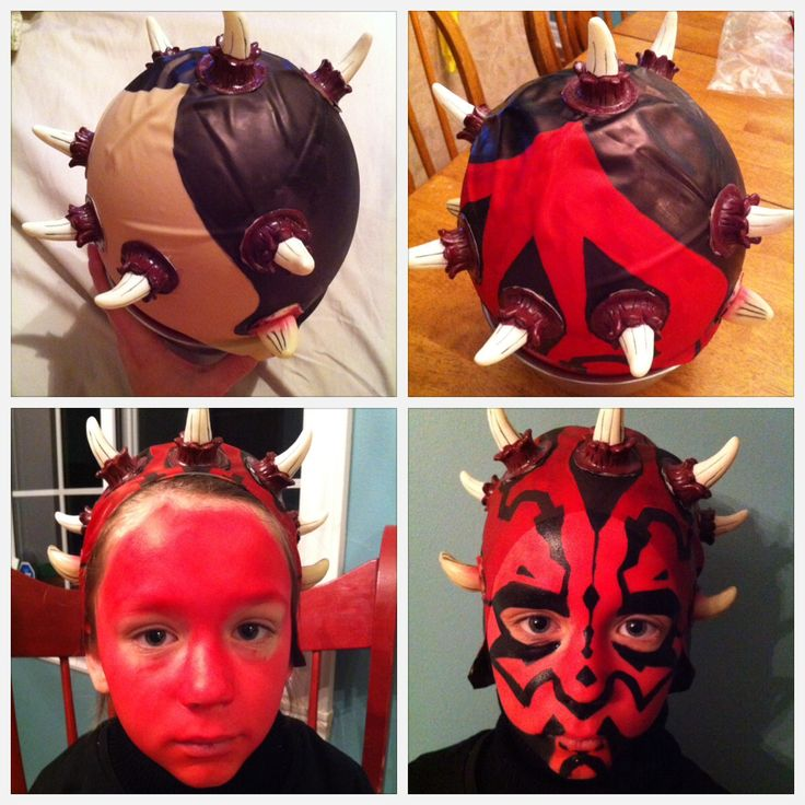 DIY Darth Maul Halloween costume. Glue some rubber horns on a bald cap. Color bald cap with red and black Sharpies. Paint face. Ta-da!
