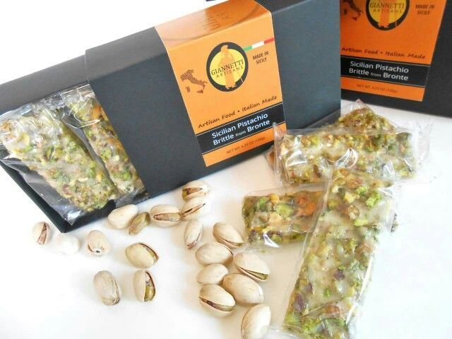 GIANNETTI ARTISANS NEW PISTACHIO BRITTLE & PISTACHIO ORANGE BRITTLE FROM BRONTE, SICILY!!  Giannetti Artisans Sicilian Pistachio Brittle & Pistachio Orange Brittle from Bronte is a wonderful Artisan-Made excellence that will allow for you to taste Sicilian pistachios grown on and around Mt. Etna's fertile volcanic soil in Bronte. Our Sicilian Pistachio Brittle is a crunchy snack or dessert that you will probably get addicted to!
