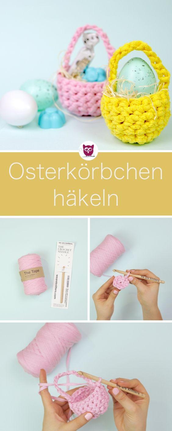 Osterkörbchen Häkeln Mit Textilgarn In 10 Minuten Last Minute Oster
