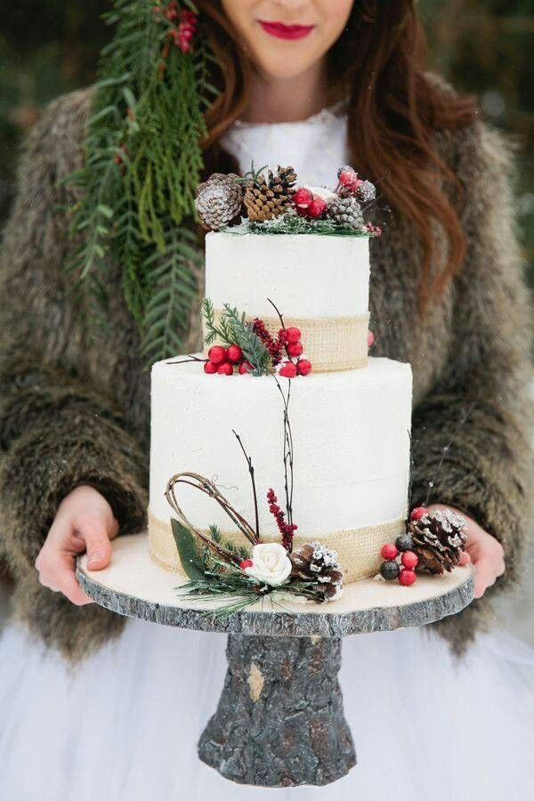 Loving this cool Christmas Wedding cake with berries, pine and pine cones.....perfect !