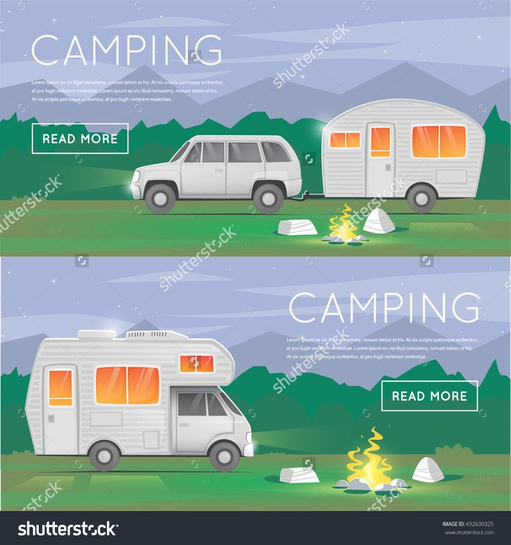 Hiking and outdoor forest camping. Camper trailer family. Summer. Tourist. Adventure. Night landscape. Flat design vector illustration.