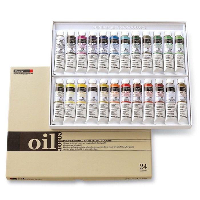 Oil Color Paint Set Shinhan Professional 24 Colors 20ml Tube Artist Drawing #Shinhan