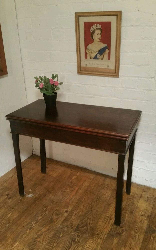 Victorian Mahogany Side Table, Hall Table / Folding Games Table Delivery  Poss