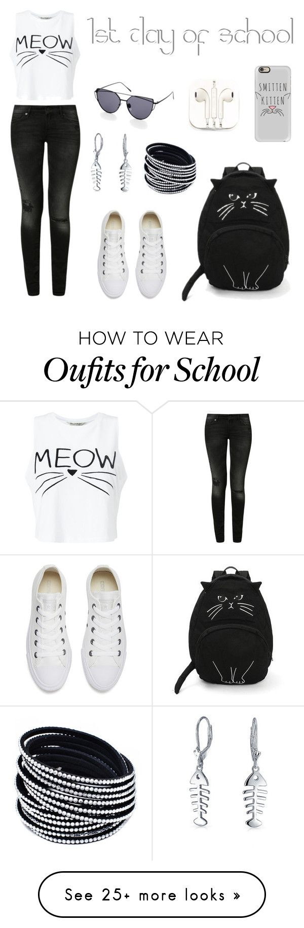 """""""First Day of School outfit"""" by angelarmoyer on Polyvore featuring 7 For All Mankind, Miss Selfridge, Converse, Bling Jewelry, Casetify and PhunkeeTree"""