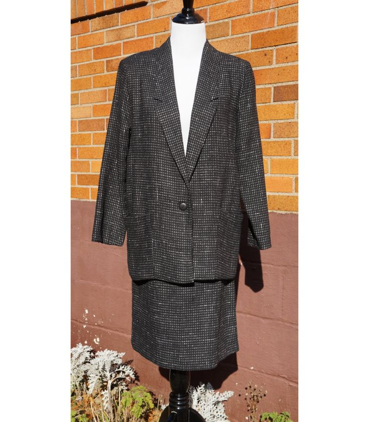 80s Skirt Suit, Shoulder Pads, Blousey Jacket, Midi Skirt, Working Girl, Wool Blend, Made in U.S.A., Norton McNaughton Petites by Have2Shop on Etsy