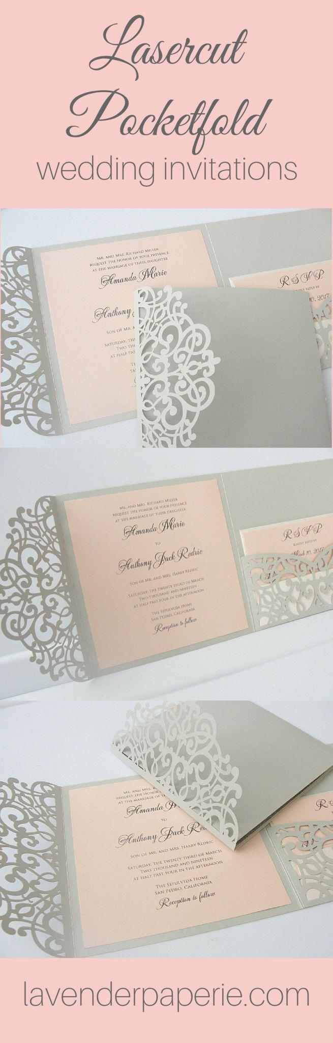Laser Cut Pocketfold Wedding Invitations 239 best