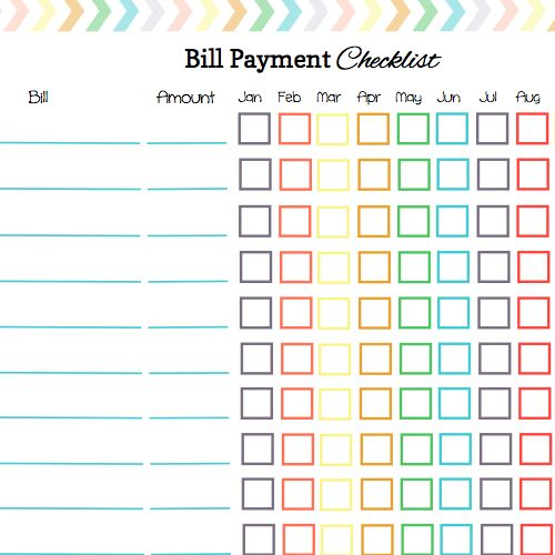 ... Bill Payment Checklist to Organize Your Bill Payments: Sample Monthly