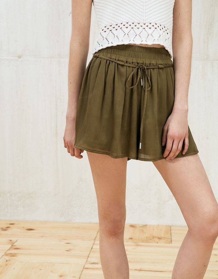 Bambula and satin culottes. Discover this and many more items in Bershka with new products every week