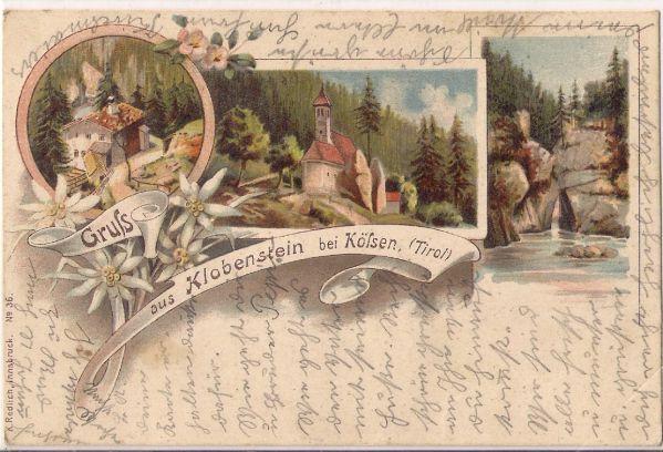 Wallfahrt Klobenstein bei Kössen. Karte gelaufen am 23. 8. 1902.