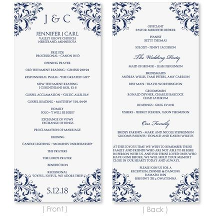 wedding program template download instantly edit your wording
