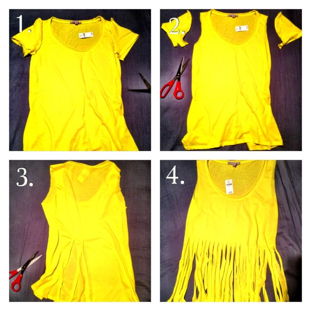 """How to fringe a shirt... This may be harder to understand than my """"HOW TO FRINGE A SCARF"""" but seriously just follow the scarf thing (minus the cutting out the top of the shirt.. DUH) But this is if you want a sleveless fringed shirt. Super cute for summer concerts & cover ups! XO"""
