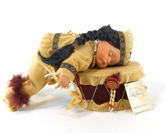 Native American Porcelain Doll, Baby Sleeping on the drum
