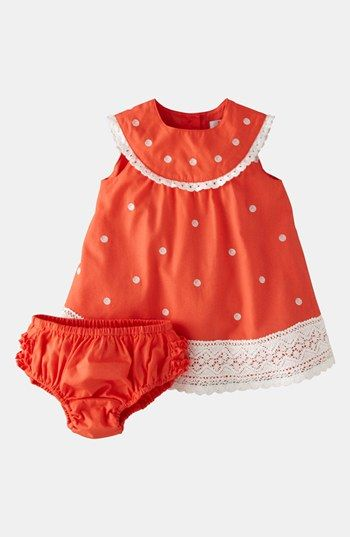 Mini Boden 'Crochet Trim' Dress  Bloomers (Baby) available at #Nordstrom