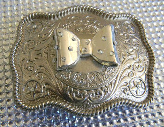 Silver Bow Belt Buckle Silver Polka Dot Western Buckle