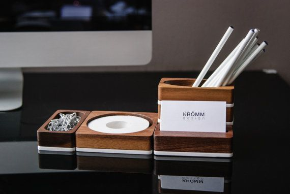 Solid Walnut and White Acrylic Desk Organizer - Set of 4 pieces for Office and Desk Storage - Desktop Organizer