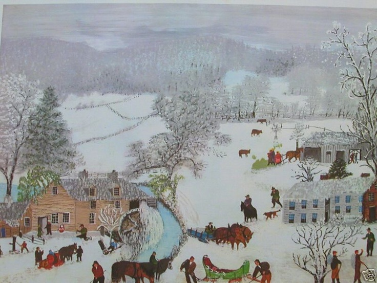 Grandma Moses ~ A Frosty Day, 1951