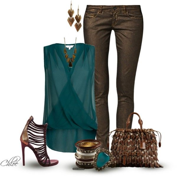 Dark Aqua and Dark Brown~1, created by chloe-813 on Polyvore