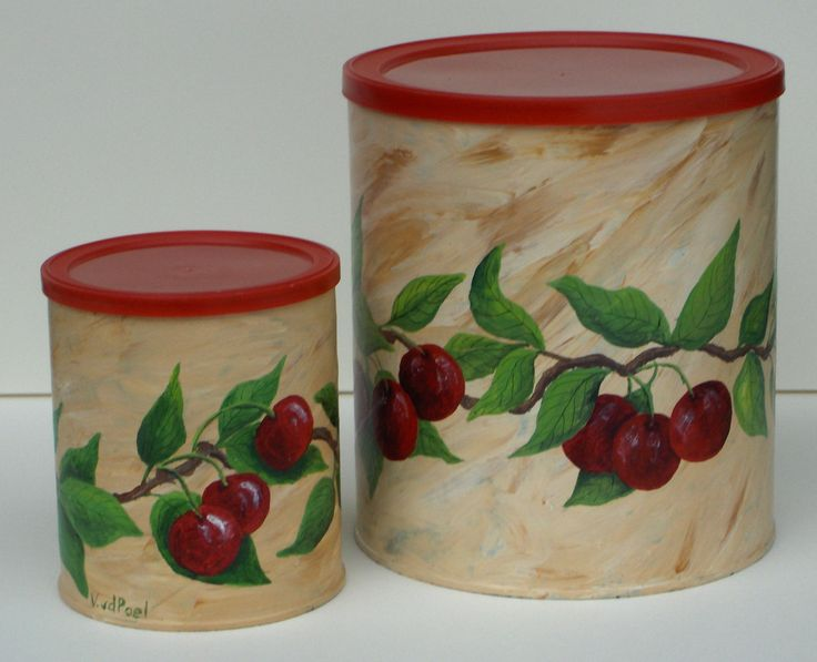 #477 - Containers painted with Cherries - $35.00 plus shipping