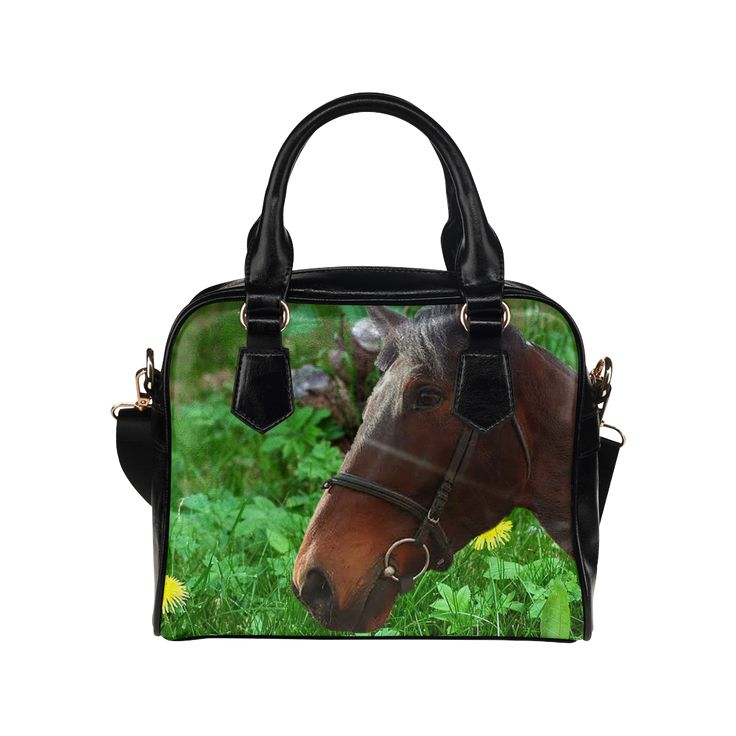 Horse and Grass Shoulder Handbag. FREE Shipping. #artsadd #bags #horses