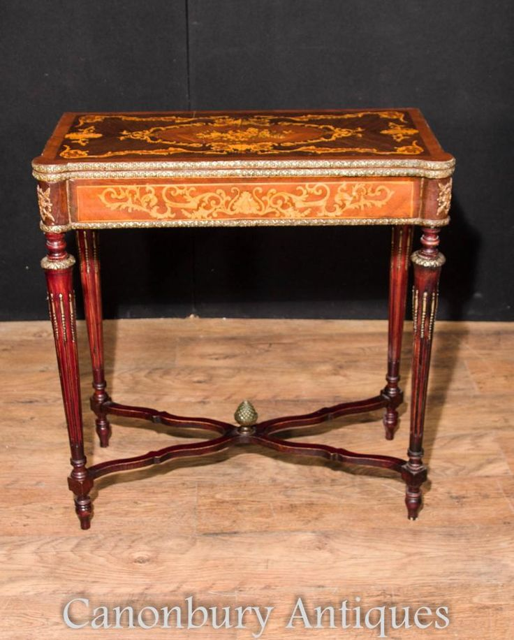 French Empire Card Games Table Marquetry Inlay Console