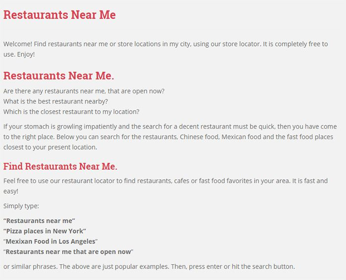Nearby Restaurants. Feel free to use our restaurant locator to find restaurants, cafes or fast food favorites in your area. It is fast and easy! #Restaurantsnearme