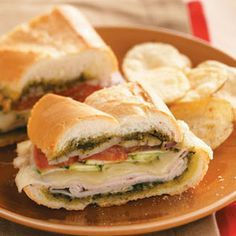 Pesto-Turkey Layered Loaf Recipe for your afternoon #picnic!  #turkey #sandwich #veggies #yummy