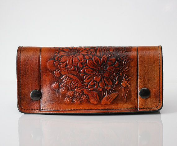 Hey, I found this really awesome Etsy listing at https://www.etsy.com/listing/159707234/leather-wallet-floral-embossed-long