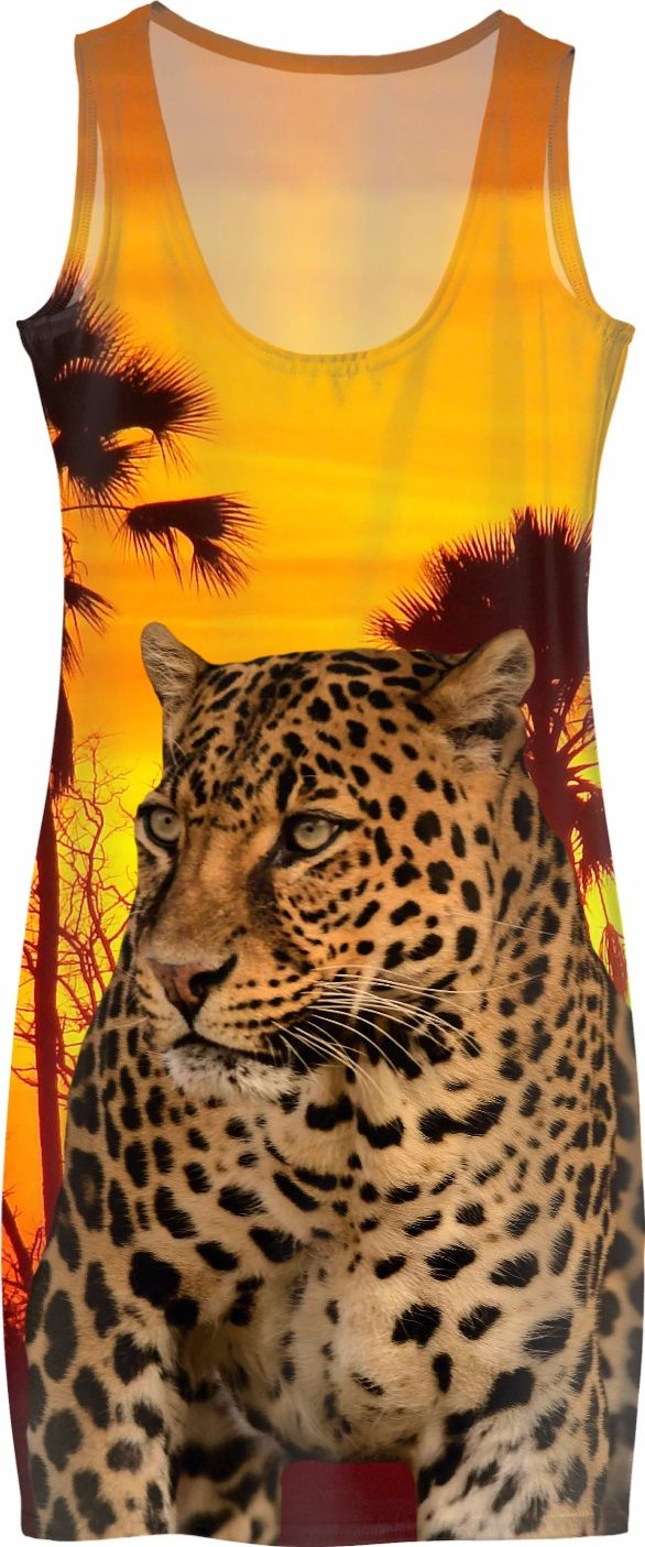 Leopard and Sunset Simple Dress