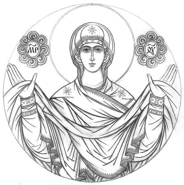 святые картинки черно-белые