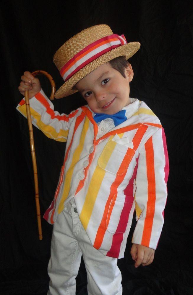 Mary Poppins Bert Stripe Suit Coat Jolly Holiday Costume Blue Bow Tie Hat Band  #Handmade #JacketsCoatsCloaks