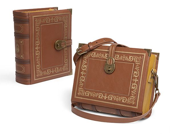 We figured it was about time we put our savings into our books literally with this Olde Book Purse. It looks like an old leather-bound volume you'd find in your grandmother's library, but it functions like a handbag.
