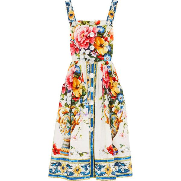 Dolce & Gabbana Floral-print cotton-poplin midi dress found on Polyvore featuring dresses, vestidos, tan midi dress, floral print dress, flower pattern dress, floral printed dress and flower dress