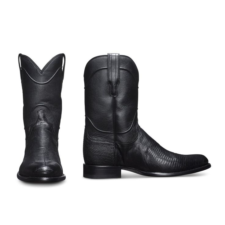 The Nash is a handmade roper boot, crafted from supple lizard leather,  featuring a calfskin shaft and leather sole & heel.