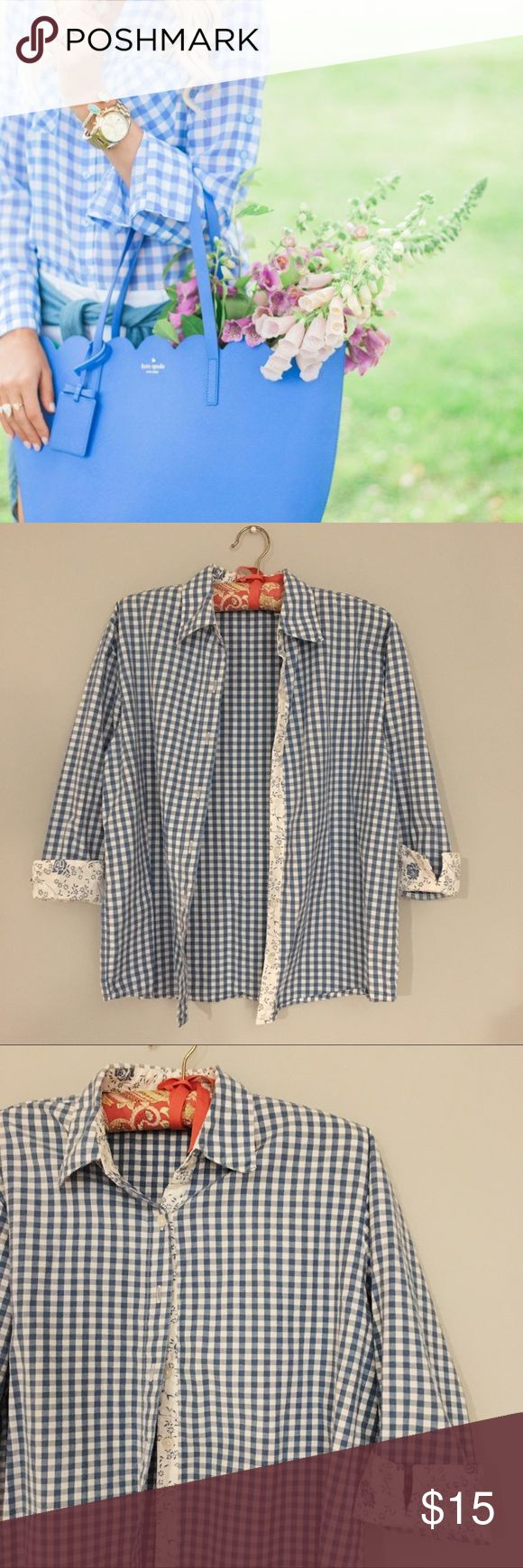 BLUE GINGHAM Light blue gingham shirt with floral trim interior. Great winter layering shirt. By Dress Barn. Image 1 credit to pinterest. Similar style.  No Low balls No Trades No offline transaction . Tops
