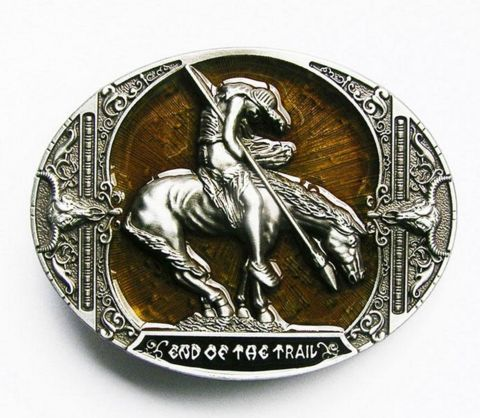 "Nice horse design with a cowboy belt buckle with 3d effects on the design.  Creation of the belt is based on a sculpture named "" End of the trail "" by James Earle Fraser."