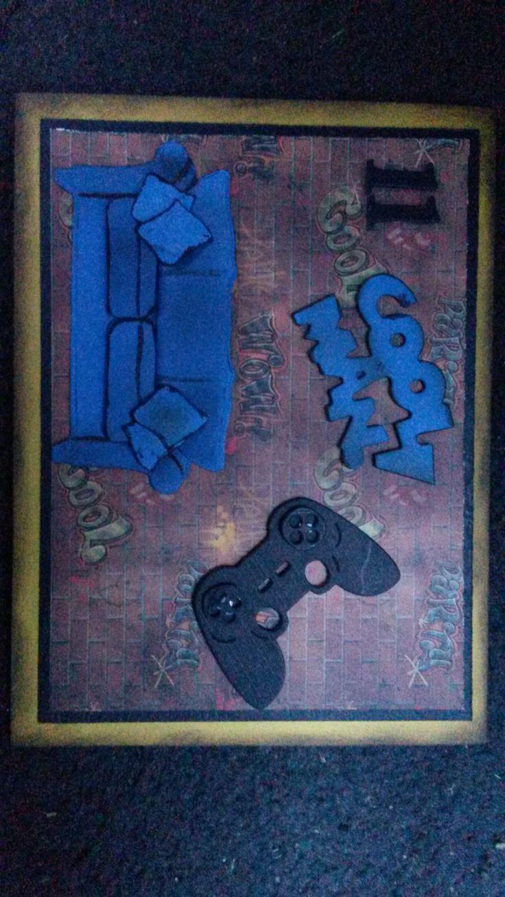 Birthday card for a male / boy. Xbox couch potato. My 11yr old son.