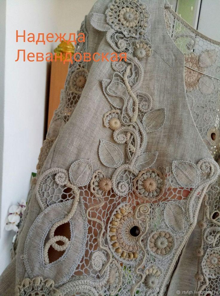 Купить Бохо -шик - бежевый, бохо, ирландское кружево, вязание, костюм женский, ткань лён