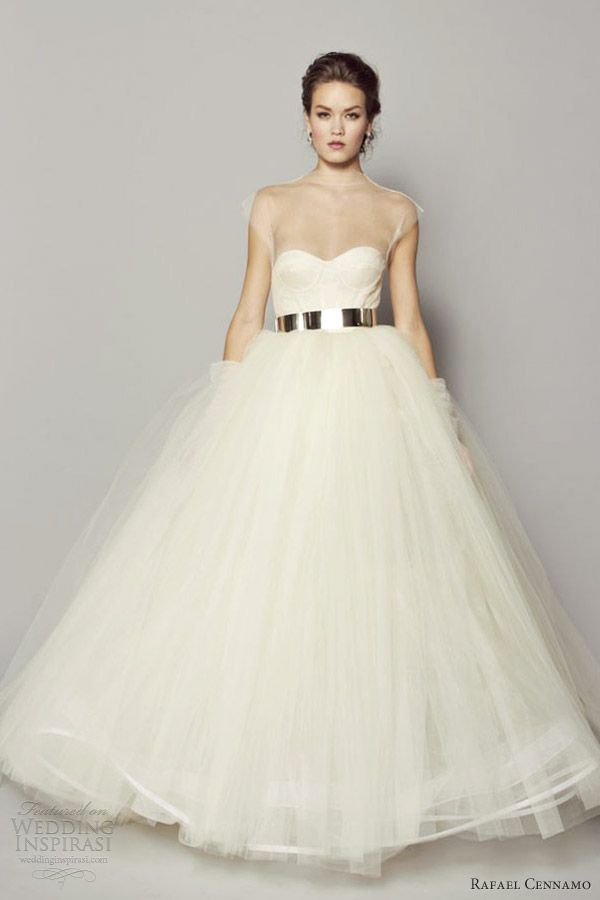 rafael cennamo wedding dresses fall 2013 tulle ball gown illusion neckline