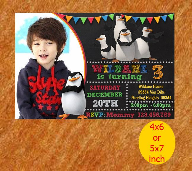 Penguin of Madagascar Birthday Invitation, Penguin Invitation, Penguin Birthday, Penguin Party, Penguin Printable, Instant Download by RipoArtShop on Etsy