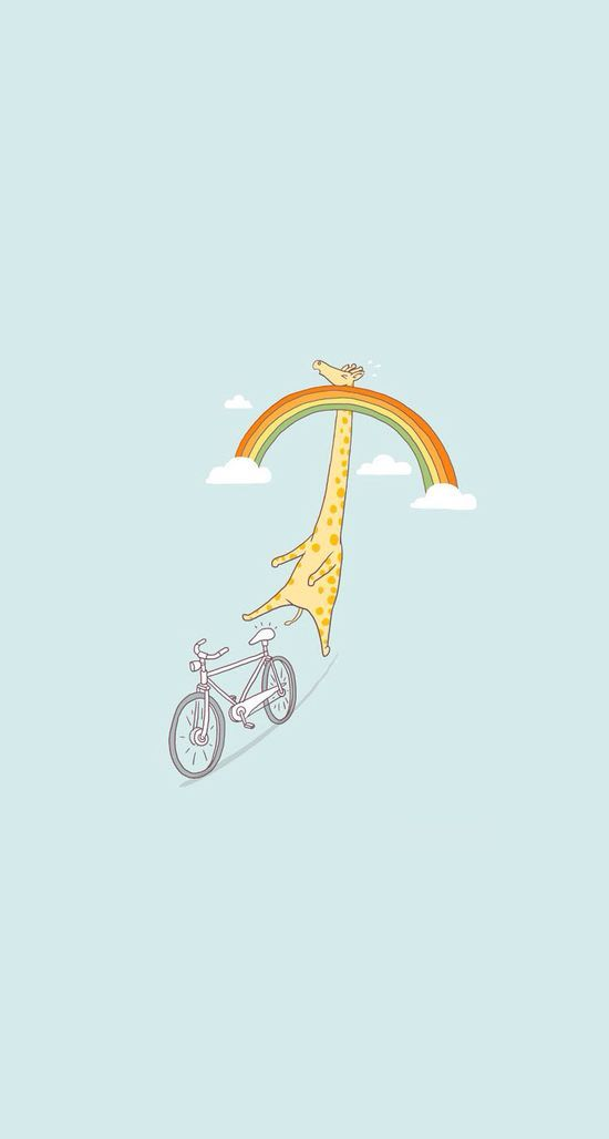 """Height Restrictions"", giraffe, bicycle and rainbow illustration by Lim Heng Swee (ilovedoodle) - It's tough being a giraffe riding a bicycle under a rainbow. That's her life! https://www.flickr.com/photos/ilovedoodle/6331257014/in/album-72157625278513533/ /"