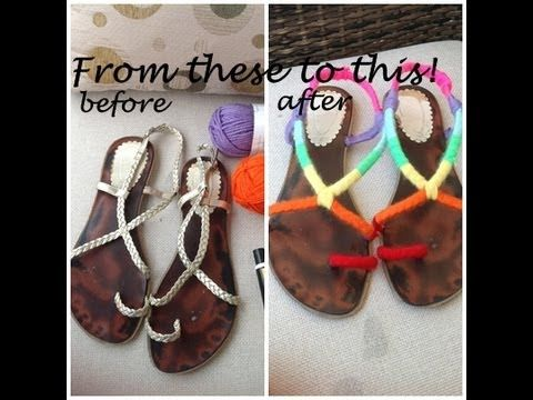 Rainbow yarn  wrapped sandal tutorial,shoe refashion/Σανδάλια πολύχρωμα με κλωστή