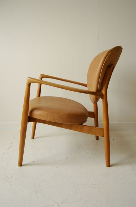 ib kofod larsen tan leather armchair