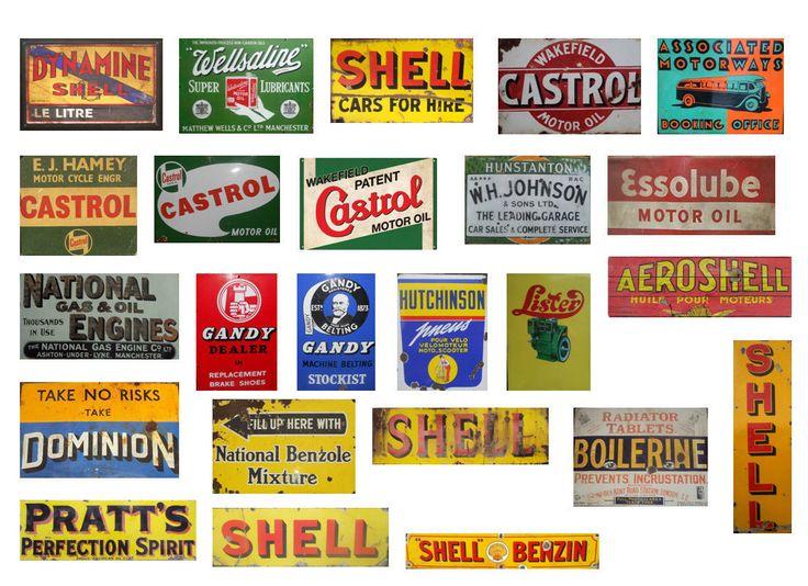 Vintage garage signs set 4 stickers decals